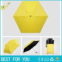 Wholesale Mini Folding Pencil Umbrella - Light mini five-fold sunshade sun umbrella-anti-uv shade umbrella black plastic pocket folding clear umbrella pencil umbrella