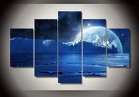 Wholesale Sea Poster Landscape - 5 Panel HD Printed Blue sea ice water cold night planets and stars Group Painting room decor print poster picture canvas tableau peinture