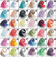 ingrosso cachemire sciarpa pendenza-Doppio colore sfumato imitazione cachemire sciarpe scialle transizione Pashmina caldo sciarpa nappa 36 colori avvolge sciarpe invernali 4152-2