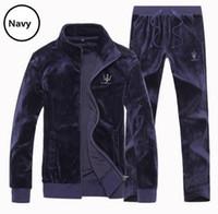 Wholesale Large Size Tracksuits - Wholesale-New fashion 2016 Women's Casual Velvet Tracksuit Men's Sportswear Velour Sport Suit Velour Tracksuit, Large size 4XL 6