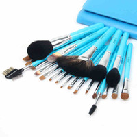Wholesale Makeup Brushes Kolinsky Hair - Zoreya Lake Blue Professional Makeup Brushes 22 Pcs Studio kolinsky Hair Powder Blush Foundation Eyeshadow Lipgloss Full Tools