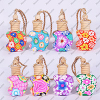 Wholesale Ceramic Perfume Bottles - Car Hang Decoration Pendant Pottery Essential Oils Perfume Empty Bottle Colorful Ceramic Glass Hang Rope Necklace Birthday Gift 12-15ml D423