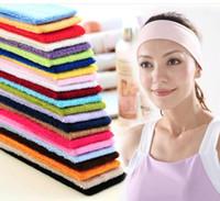 vendas delgadas al por mayor-Deportes de color caramelo gimnasio yoga que adelgaza venda de la venda de la venda del pelo elástico 10 colores para las opciones