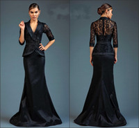 Wholesale Dresses Two Parts - Lace Mermaid Prom Dress Black Evening Dress With Jacket Long Sleeves Beading Two Parts Dress Custom Made Cheap Mother Dresses