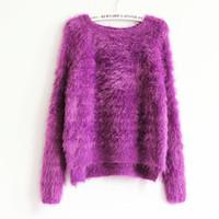 blusas folgadas mulheres venda por atacado-Atacado-Kawaii Camisola 2016 Moda Feminina De Malha Mohair Assimétrico Baggy Camisolas de Grandes Dimensões Outono Inverno Feminino Bonito Rosa Pullovers