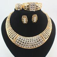 conjunto completo de joyas al por mayor-Joyería africana de las mujeres Set 18 K chapado en oro lleno Rhinestone collar pendiente pulsera anillos de boda joyería