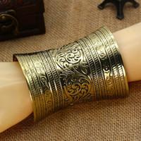bracelet manchette bohème métal achat en gros de-Ethnique En Métal Fleur Sculptée Ouvert Bracelet Bohème Vintage BraceletBangles Femmes Manchette Partie Bijoux Lots 6 Pcs