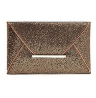 Wholesale Gold Metallic Clutch Bag - Luxury shiny hand bags big envelope clutch bag glitter ladies wedding bags evening bags for women party black purse handbag 3 Colors
