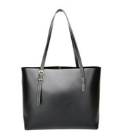 Wholesale Wholesale Black Boston Bag - KISSUN Factory Women Leather Shopping Bag Tote Bag Black Veg Tanned Pure Leather Hand Stitching Shopping Bag Luxury Quality Wholesale