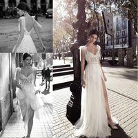 Wholesale New Designs Floor Gowns - Gali Karten 2018 New Designed A Line Wedding Dresses Sheer Tulle V Neck with Side Split Floor Length Lace Tulle Backless Bridal Gowns
