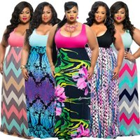 Wholesale clubwear plus - XL-4XL Womens Plus Size Casual Flora Printed Sleeveless Long Maxi Dress Cocktail Party Evening Dresses Clubwear Oversized