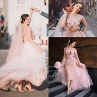 Wholesale Women Flower Tutu - Vintage Pink Tutu Overskirt Prom Dresses Sheer Neck Half Long Sleeve Sheath Evening Gowns Flower Applique Women Special Occasion Dresses