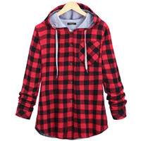 grüner blauer karikaturhut großhandel-Groß- Plus Size Frauen Buffalo Plaid Coat Grün Blau Plaid Open Stitch Strickjacke mit Hut Winter Warm Coat