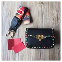 Wholesale Genuine Gems Beads - 2017 New Fashion Rivet Gems Flap Bag Cow Leather Messenger Bags Women Genuine Leather Handbag Original Quality 6 Color 2 Size Amber Shop