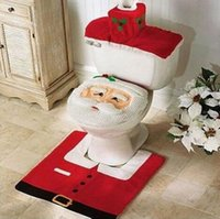 Wholesale Nice Bathroom Sets - Fashion Nice New Hot 4PCS sets Christmas Decorations Happy Santa Toilet Seat Cover & Rug Bathroom Set Best Hot