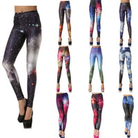 Wholesale Jeggings Pants Galaxy - Legging Women Colorful Galaxy Print Leggings Stretchy Sexy Jeggings Pencil Pants Print Sports Pants Leggings Lady Fitness Stretch Trousers