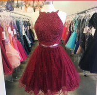 Wholesale Trendy Lace Cocktail Dresses - Trendy Burgundy Two Pieces homecoming dresses 2018 spaghetti straps lace appliques short prom dresses cocktail party gowns