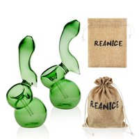 Wholesale Filter Recycling - REANICE Cheap little pipes Green pipes and Recycled water filters easy to use with small Bong glass spoon Cheap Bong hookah