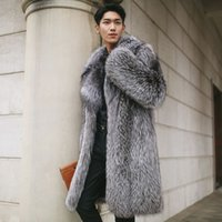 Wholesale Vintage Leather Trench - Mens Winter Warm Long Jacket Lapel Fox Fur Leather Trench Coat Outwear Parka Furry Thicken Overcoats New GWGW613