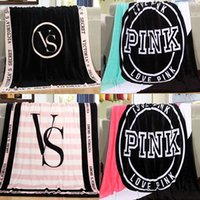 Wholesale Large Fleece Blankets Wholesale - Love vs Pink Beach Shower Towel Fashion Cotton Large Size VS Pink Blanket Towel Female 130*150CM Towel Cotton Washcloth Swimwear Blanket