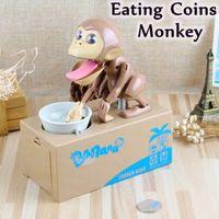 Wholesale Money Monkeys - Money Piggy Bank Mechanical Choken Robotic Hungry Monkey Eating Coins Piggy Bank Saving Bank Saving Pot Money Box Party Favor CCA7550 48pcs