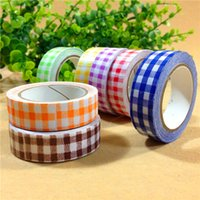 Wholesale Lovely Fabric Tape - Wholesale-DIY 4M Cute Kawaii Fabric Decorative Tape Lovely Grid Cloth Adhesive Tape For Home Decoration Free Shipping 159