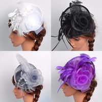 Wholesale Cheaper Feather Headbands - Cheap Women Mesh Flower Headband Fascinator Rop Band Weddings Women Chic Fascinator Hat Cocktail Wedding Party Church Headpiece Headband
