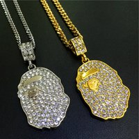 Nueva llegada Punk Silver Gold con Full Diamond hip hop neckalce Metal Ape Monkys oído Necklace Pendants Hip Hop Jewelry for Men Wome