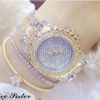 montres haut de gamme en platine achat en gros de-BS imperméable à l'eau chaîne haut de gamme Montre plein de diamants femme Montre véritable Mode Femmes Robe Marque Montre