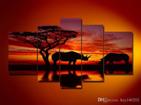 Wholesale Bedroom Framed Wall Paintings - Fashion Canvas Painting rhinoceros Pictures hand-painted On Canvas Large 5 Piece Wall Pictures For Living Room Bedroom Office h30