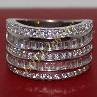 Wholesale Men Diamond 14k Gold Rings - Handmade 14K White Gold Filled Square Simulated Diamond CZ Stone Overlay Eternal Wedding Engagement Ring for Women and Men