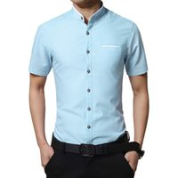 Wholesale Classy Clothing - Wholesale-New Stand Collar Shirt Men Short Sleeve Classy Casual Shirt Male Korean Trend Dress Shirts Social Clothes Man chemise homme