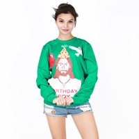 Wholesale Girl S Dress Hoodie - 2016 newest winter wear 3d print Christmas dress Jesus Christ hoodie girls sweatshirt free shipping