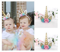 Wholesale Magical Flower - Magical Gold Unicorn Horn Head Party Flowers Hair Headband Fancy Dress Cosplay (Color: Gold)