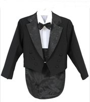 Wholesale Kids Black Tie Suit - Elegant Kid Boy Wedding Suit Boys' Tuxedo Boy Blazers Gentlemen Boys Suits For Weddings (Jacket+Pants+Tie+Girdle+Shirt)