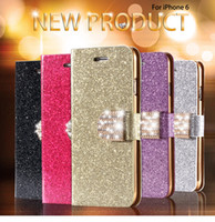 Portefeuille Diamant Pas Cher-I6 / 6S / Plus 7 / 7plus Stand Wallet Cover Mode Bling Glitter Diamond PU Étui en cuir pour iPhone 6 4.7 / 6S Pour iPhone 6 Plus / 6S Plus