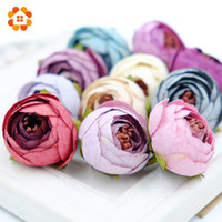 Wholesale Tea Craft Gifts - 50Pcs Silk Artificial Flower Heads Tea Rose Flowers Diy Wreath Gift Box Scrapbooking Wedding Party Decoration Craft Fake Flowers