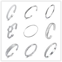 Wholesale Mix Street Fashion - Global Hot 925 sterling silver plated charm bangles fashion jewelry for women cool street style mix order Top Quality Free shipping