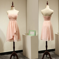 Wholesale Real Actual Photos Bridesmaid Dresses - Peach Bridesmaid Dresses Short 2017 Empire Chiffon Sweetheart Real Pictures Maid Honor Gowns Actual Image Cheap Price