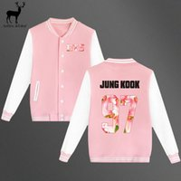 Wholesale Kpop Jacket - Wholesale- Aelfric Eden Pink Jacket Women Kpop BTS Bangtan Boys Baseball Jackets Uniform Men Long Sleeve Jacket High Quality Sweatshirt