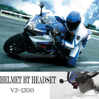 Wholesale Helmets Intercom Mp3 - New BT 1200M Motorcycle Interphone Waterproof Wireless Bluetooth Motorbike Helmet Intercom Full Duplex Headphone Headset cellphone MP3 GPS