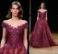 Wholesale organza flower wrap online - Vintage Burgundy Lace Crystal Prom Formal Dresses Modest Ziad Nakad Off shoulder Dubai Arabic Plus Size Occasion Evening Wear Dress