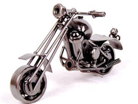 Wholesale Iron Artwork - 2016 New Home Office Decoration Iron Motorbike Handmade Metal Craft Motorcycle Model Artwork Christmas Gifts m34
