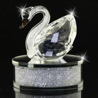 iç cam toptan satış-Parlak Temizle / Şampanya Cam Kristal Kuğu Figürler Rhinestone Ev Dekor Otomotiv iç Noel Hediyesi DEC123 ile dolu