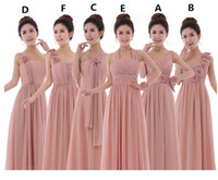 Wholesale Blush One Shoulder Dress - Cheap Chiffon Bridesmaid Party Dresses One Shoulder Flowers A Line Long Blush Evening Party Gowns Wedding 2017