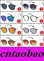 Wholesale Wholesale Wayfarer Sunglasses Cheap Shipping - Vintage Round Sun Glasses Reflective Resin Glasses 8 colors options Fashion Cheap Sunglasses men women AAA+ qualtiy MOQ=10pcs Fast Ship