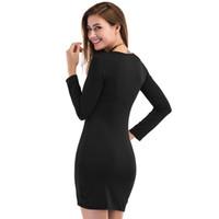 Wholesale Long Black Bodycon Slimming Dress - Hot Girls Dress Sexy Fashion women's dresses Bohemian dresses long sleeve slim fix Elastic Elegant Casual Club Bodycon Dresses LYQ63 RF