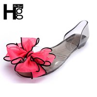 Wholesale grand big - Wholesale- HEE GRAND Sweet Jelly Summer Women's Sandals Peep Toe Big Ribbon Bowtie Knot Transparent Material Flat Shoes Woman XWT371