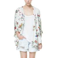 beyaz yarasa kolları bluz toptan satış-Toptan Satış - Blusas Kadınlar Kimono Beyaz Hırka Gömlek Bluz Tops İlkbahar Yaz kadın Hırka Kuş Çiçek Baskı Yarasa Kol Kimono Ceket
