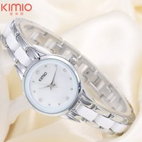 Wholesale Kimio Brand For Watch - 2016 KIMIO Ceramic Womens Watches For Top Luxury Brand Ladies Fashion Wrist Watches Rose Gold Females Diamond Quartz Clocks Bracelet